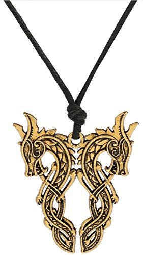 Lemegeton Double Face Nœud Dragon Doré Pendentif Collier Pendentif Bijoux Accessoires pour Homme Femme