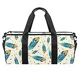Bolsas de playa de viaje, gran deporte gimnasio durante la noche, bolsa de hombro con estampado de plumas de pavo real azul con bolsillo seco y húmedo