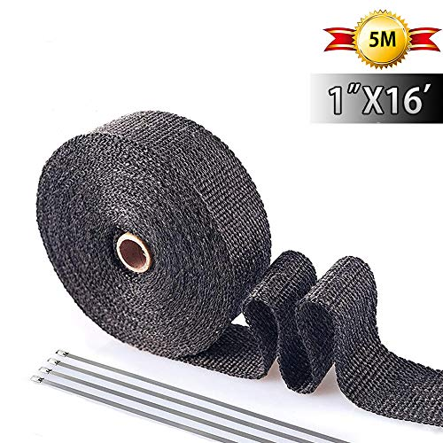 Exhaust Wrap Black 1' x 16' Roll for Motorcycle Fiberglass Heat Shield Tape with 4PC Stainless Ties (black)