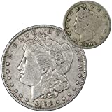 1886 Morgan Dollar VF Very Fine 90% Silver Coin with 1906 Liberty Nickel G Good