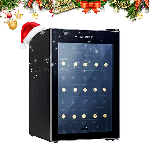 KUPPET 36 Bottle Wine Cooler, Counter Top Wine Cellar/Chiller with Digital Temperature Display, Compressor Freestanding Single Zone Refrigerator for Red and White Wines (Metal shelf)