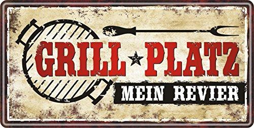 Großes Metallschild rostfrei Blechschild Schild mit lustigem Spruch im Vintage Retro Look (Grillplatz 33507