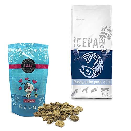 ICEPAW I Kombipaket I für Welpen und Junghunde I Trockenfutter Puppy Junior Pure I 15 kg I Mit Hering I Leonies Leckerli Fischhappen 100 g