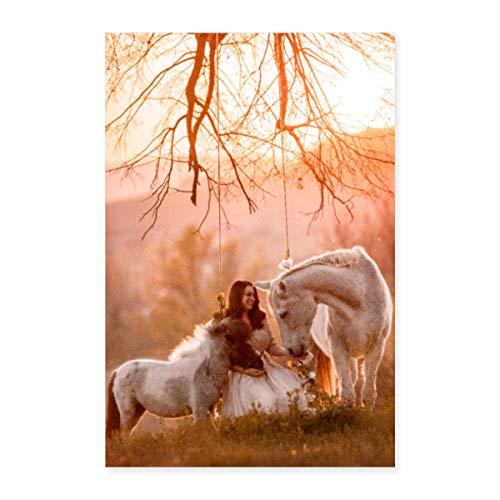 Spreadshirt Anita Girlietainment Pferde Porzellinchen & Rubineska Poster 40x60 cm, Weiß