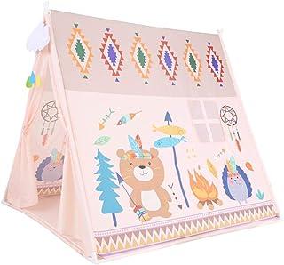 WOHAO Växthustält teepee tält för barn stor robust lekhus inomhus utomhus hopfällbara tipi-tält, använd bomullsduk 133 cm hög