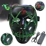 BESTZY LED Halloween Masken, Erschreckend LED leuchten Maske Reinigung Gesicht Maske EL Draht für Festival Cosplay Halloween Kostüm
