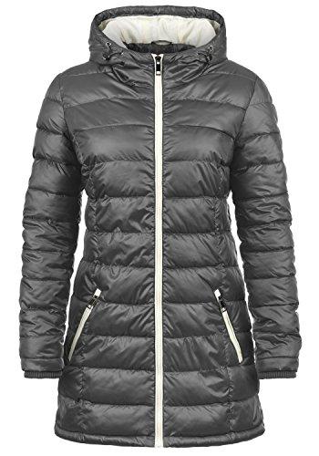 DESIRES Dori Damen Steppmantel Übergangsmantel Lange Jacke gefüttert mit Kapuze, Größe:XL, Farbe:Dark Grey (2890)