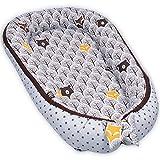 PALULLI Kuschelnest 2-seitig Babynest Babynestchen Baby Nest Nestchen Reisebett Wickelauflage Kuschelbett, Kokon Kokon für Babybett - Babys und Säuglinge, 100% Baumwolle OEKO TEX (Grau Wald)
