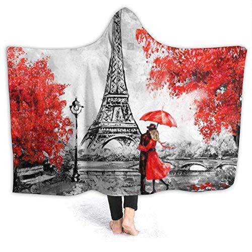 Manta de forro polar romántica Francia Torre Eiffel Sherpa de franela con capucha para uso en todas las estaciones, manta de forro polar, manta de impresión para sofá de coche duradero, 100 x 130 cm