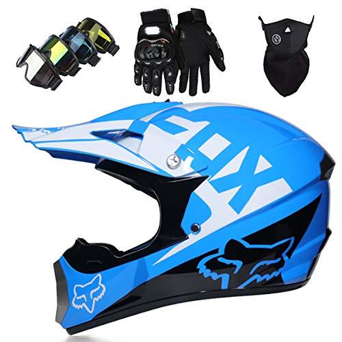 LCRAKON Casco Moto Niño, MJH-01 Cascos de Motocross de Moto,Enduro,Descenso,Full Face para Hombre, Casco de Carreras Dot Aprobado,Casco Motocross Infantil con Diseño de Fox - Azul Blanco