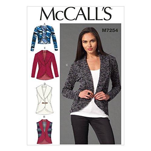 McCall's Patterns McCall's Schnittmuster 7254 Y, Damen-Strickjacken, Größen XSM (34-6), S (8-10), M (12-14), Paper, Y (X Small-Medium)