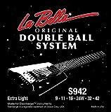 La Bella Strings - Juego de cuerdas para guitarra eléctrica (extremo de bola, 9-42)
