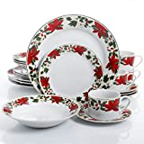 Gibson Home Poinsettia Holiday 20 Piece Dinnerware Set - (Christmas Theme)