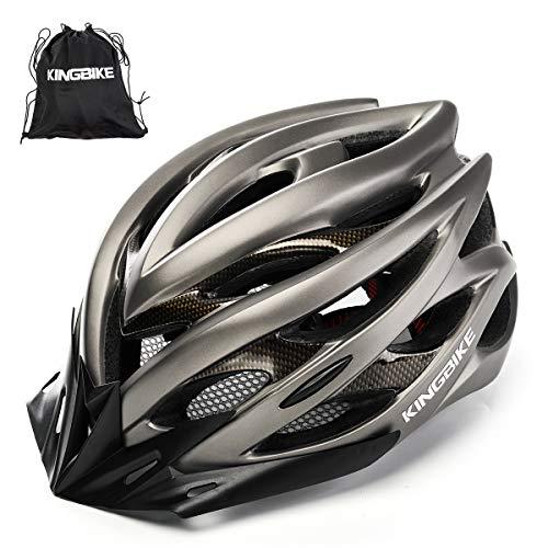 KING BIKE Fahrradhelm Helm Bike Fahrrad Radhelm mit LED Licht FüR Herren Damen Helmet Auf Die Helme Sportartikel Fahrradhelme GmbH RennräDer Mountain Schale Mountainbike MTB(Titan, XL(59-62CM)