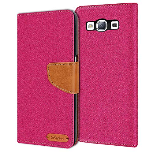Conie Samsung Galaxy S3 / S3 Neo Hülle für Galaxy S3 / S3 Neo Tasche, Textil Denim Jeans Erscheinungsbild Booklet Cover Handytasche Klapphülle Etui mit Kartenfächer, Pink