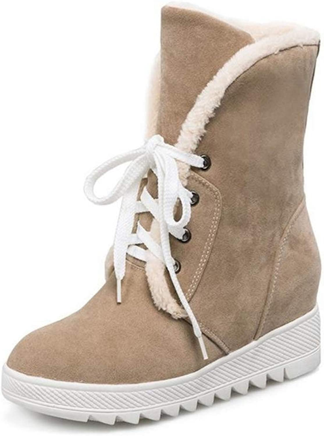 T-JULY Women Round Toe Flat Mid Calf Boots Woman Lace Up Stylish shoes Female Wonter Warm Cosy Thickened Fur Half Botas