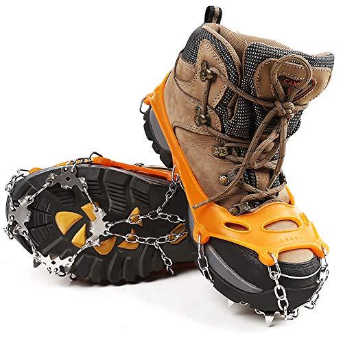HEWOLF Steigeisen Grödeln Eisspikes mit 18 Zähne Schuhkrallen Anti-Rutsch Schuhspikes EIS Schneegriffe Edelstahl Spikes Schuhabdeckung für Klettern Bergsteigen Winter Outdoor Orange L