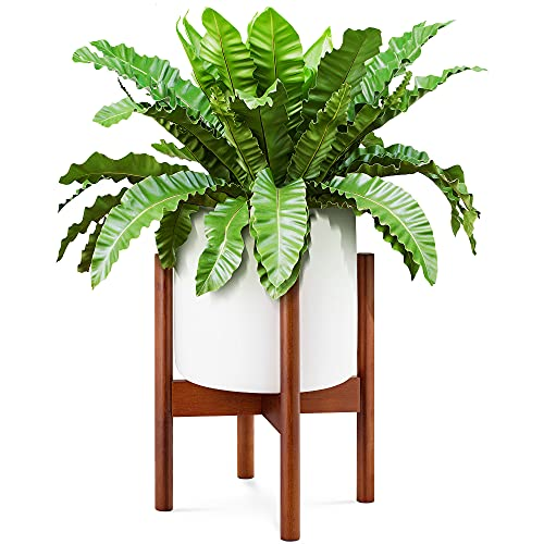 EdenHomes Mid Century Modern Indoor Plant Stand With Pot Set, 10 Inch White Plant Pot, 14 Inch Tall Bamboo Plant Holder For Flowers, Succulents, Snake Plants, Cactus, Fiddle Leaf Fig Trees