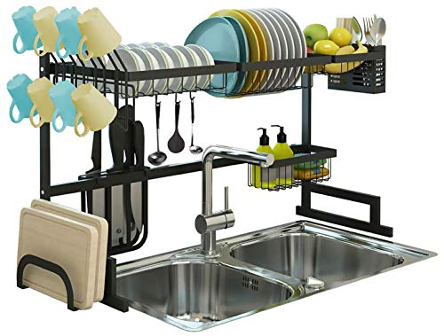 Over the Sink Dish Drying Rack, Drainer Shelf for Kitchen Supplies Storage, Counter Organizer, Utensils Holder, 2 Tier for Kitchen Countertop, Rustless Stainless Steel, Space Saver Stand (Black)