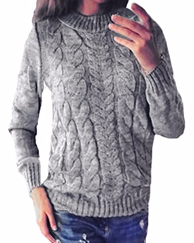 Style Dome Pull Femme Hiver Grande Taille Tops Femme Chic Chaud Hiver Pull Cachemire Femme Tunique Femme Hiver Pas Cher,Gris,XXL