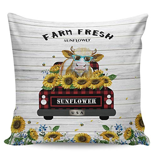 Scrummy Throw Pillow Covers 20' x 20', Farm Fresh Red and White Plaid Truck with Cow Sunflower Rustic Wooden Decorative Pillowcases Square Cushion Cover for Home Decor