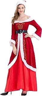 Mikilon Women's Ladies Mrs Santa Claus Costume Adults Christmas Fancy Maxi Dress Outfit