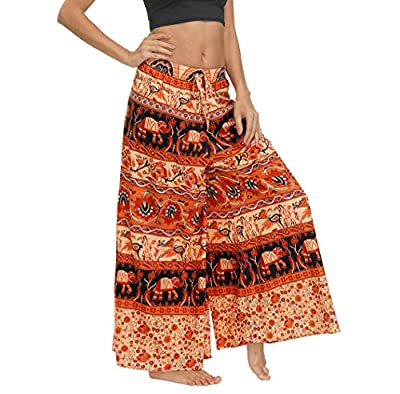 MsAnya Womens Palazzo Slit Wide Leg Pants Summer Casual Beach Boho Hippie Bohemian Pilate Plus Size 10-18