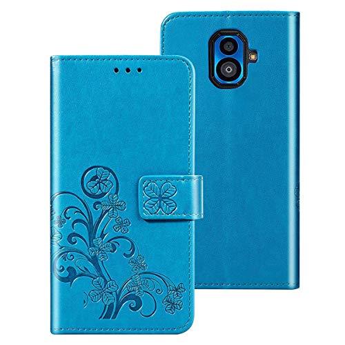 MOONCASE KYOCERA Torque G04 Hülle, Premium Embossed Leder Tasche Brieftasche Hülle Wallet Hülle Slim Flip Cover Schutzhülle für KYOCERA Torque G04 - Blau