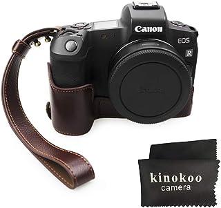 kinokoo Media funda de piel auténtica para Canon EOS R funda protectora inferior con correa de muñeca (Cuero genuino-cafe)