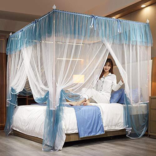 WUANNI Dome Mesh zanzariera Princess Tent Bedding,Zanzariera Quadrata Orizzontale Antipolvere con Gradiente Trasversale Orizzontale-C_1.8 * 2.0-Aluminium_Alloy_Bracket