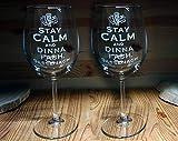 Outlander Lot de 2 verres à vin avec inscription « Keep Calm and Hand » gravée à la main pour mariage, anniversaire, Noël, diplôme, amoureux du vin