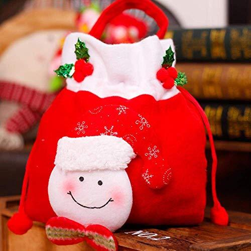 MJY Festlich dress up 31 * 18cm dekorieren einkaufstasche party dekorieren süßigkeiten tasche schneemann kordelzug bär weihnachtsmann apfel tasche, bär, 31x18cm weihnachtsdekoration,Schneemann,31 * 1