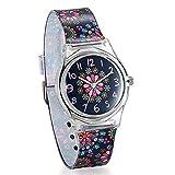 Reloj de Niña Mujer Reloj Analogico de Colores Floral Flores, Reloj Transparente Correa de Silicona para Chicas, Regalo de San Valentín -Avaner