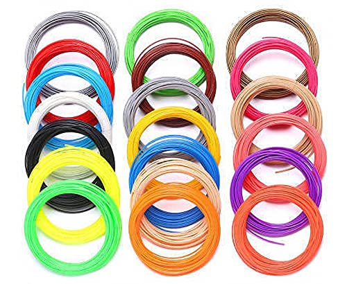 GYAM Filamento De Pluma De Impresión 3D, 20 Colores Recarga De Filamento PLA De Pluma 3D De Color Creativo De 100 M, Suministros De Arte 3D para Bricolaje Regalos para Niños
