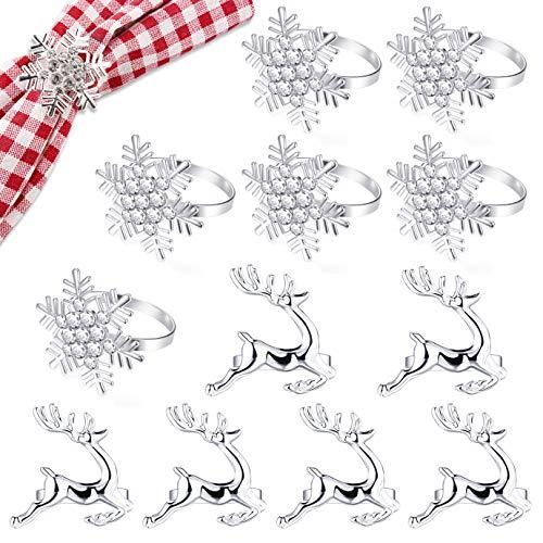 KONUNUS Lot de 12 ronds de serviette de Noël avec strass flocon de neige et cerf pour Noël, dîners, fêtes - Usage quotidien (argent)