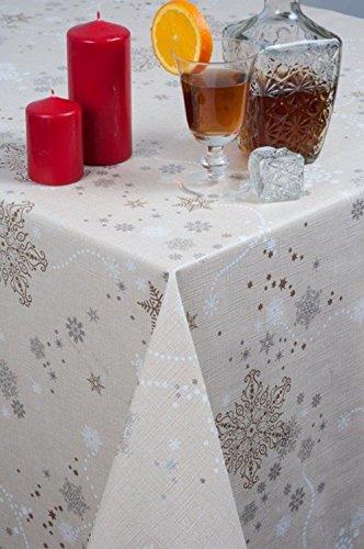 WJDhome, tovaglia di Natale in rilievo con motivo a fiocchi di neve, tela cerata in PVC, facile da pulire, 140 x 200 cm, colore: beige