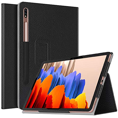 TiMOVO Case for All-New Samsung Galaxy Tab S7 Plus 12.4 Inch Tablet (SM-T970/T975/T976), Premium PU Leather Folding Stand Cover Fit Galaxy Tab S7 Plus 2020 Tablet - Black