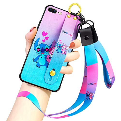 DISNEY COLLECTION iPhone 7 Plus/8 Plus Case, Stitch Couple Love Heart Street Fashion Wrist Strap Band Phone Cover Bumper Lanyard Case for for iPhone 7 Plus/iPhone 8 Plus 5.5 Inch