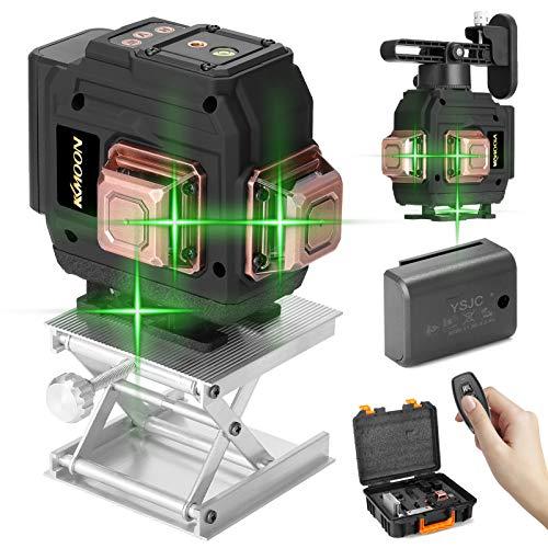 Kecheer Nivel laser autonivelante 360 grados 12 líneas con 2 baterías,Láseres de línea verde horizontales verticales,Nivelador laser con soporte de pared