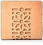 [ゲンテン] 【新型】二つ折りLファスナー財布 カットワーク ヌメベージュ