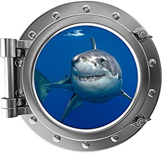 """24"""" Porthole 3D Window Wall Decal Sticker Shark #1 Silver Port Scape Great White Ocean Sea Fish Removable Vinyl Kids Room ..."""