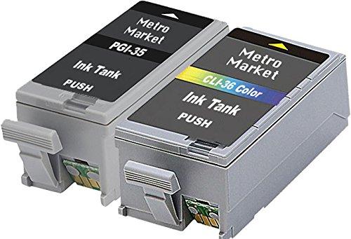Metro Market 2 Piezas Reemplazo para Canon PGI-35 CLI-36 Cartuchos de tinta Compatible para Canon PIXMA iP100 iP110