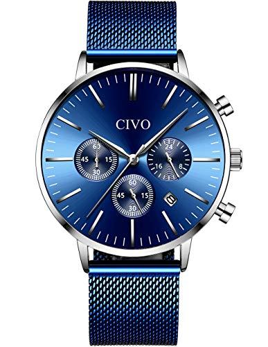 CIVO Orologio Uomo Cronografo Multifunzione Impermeabile Nero Blu Orologio...