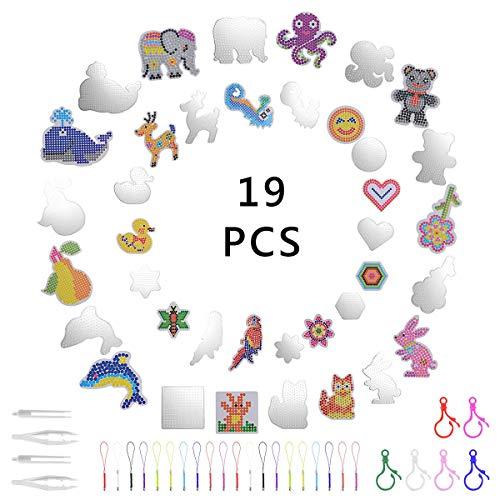 Herefun Bügelperlen Platten, 19 Stück Platten Bügelperlen, 20 Stück Hängendes Seil, Kinder Manuelle Bastelbedarf, Verschieden Muster