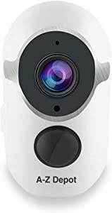 A-Z Depot Waterproof Wireless Rechargeable Battery-Powered Security Camera, 1080P HD Video WiFi Home Surveillance Camera with Outdoor Night Vision, Motion Detection, 2-Way Audio and Cloud Storage