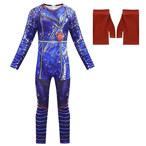 TranRay Kids Girls Halloween Descendants 3 Mal Jumpsuit + Gloves Fancy Cosplay Dress Party Costume (Blue,6-7 Years)