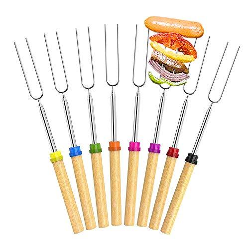Gxhong Horquillas para Barbacoa Extensibles Tenedores para Barbacoa de Acero Inoxidable Pinchos para Barbacoa Marshmallow Parrilla Palo de BBQ con Mango de Madera 8 Piezas
