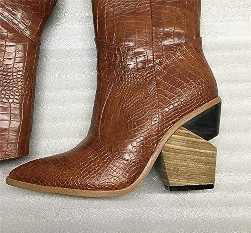 HommesGLTX Talon Aiguille Talons Hauts Sandales Cuir Microfibre Microfibre Gaufrée Bottes pour Femmes Bottes Hautes pour Garçon Occidentales Bottes Hautes à Talons Chunky Au Genou Chaussures Femme  préférentiel