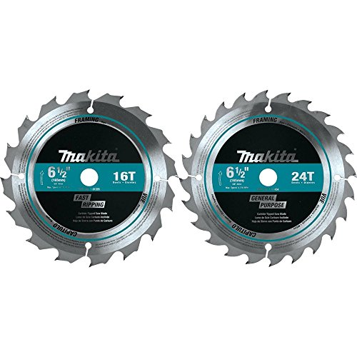 Makita T-01426 2 Piece Carbide-Tipped Saw Blade Set, 6-1/2'