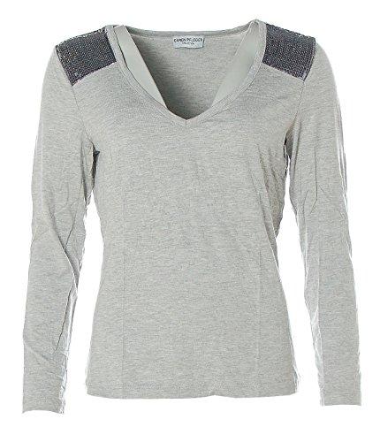 Caren Pfleger Damen Langarm Shirt V-Ausschnitt Glitzer Pailetten Silver Grey Mel. 40/42